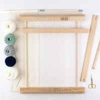 "14"" Beginners Frame Loom Weaving Kit / Everything you need to make your own woven wall hanging / Moss and Navy"