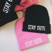 Stay Cute Embroidered Beanie