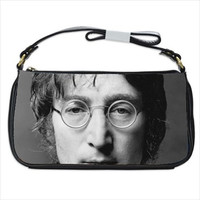 John Lennon Beatles Imagine Black Calfskin Leather Shoulder Strap Clutch Bag Purse Tote Handbag Custom Made 41223410