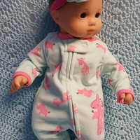 "15 inch Baby doll outfit ""My Pink Giraffe"" Will fit Bitty Baby® Bitty Twins®  dress leggings socks headband fleece O3"