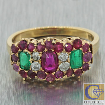 1880s Antique Victorian 18k Gold 1.00ct Ruby Emerald Diamond Band Ring