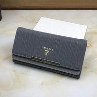 PRADA Women Leather Shopping Fashion Wallet Purse