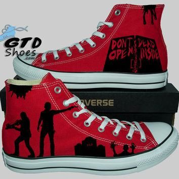 Hand Painted Converse Hi. The Walking Dead. Rick Grimes, Daryl Dixon, Walkers. Walkers