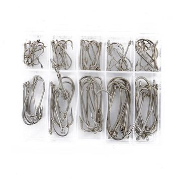 100 pcs Sea Fly Fishing Hooks Tackle Set With Box 10 Size Fresh Water