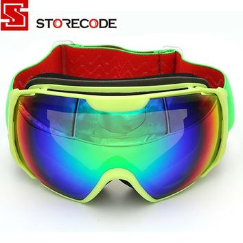 StoreCode Brand Ski Goggles Double UV400 Anti-Fog Ski Mask Glasses Women Men Skiing Snowboard Yellow Frame Snow Goggles 656