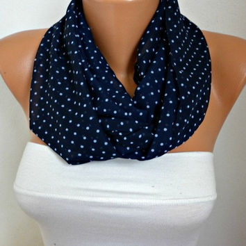 Polka dots - Infinity Scarf Shawl Circle Scarf Loop Scarf  Gift -fatwoman - Navy Blue