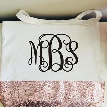 Monogrammed tote bag, bridesmaid gifts,Monogram glitter tote bag, monogrammed gift, Personalized gifts, Glitter monogram, customized gifts