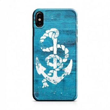 Marine Anchor Blue Wooden iPhone X Case
