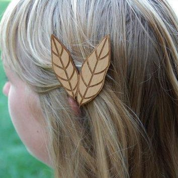 Feather Hair Clip  Laser Cut Alder Wood By Aflutteredcollection