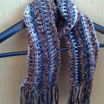 Crochet Striped Scarf, Brown and Grey, Women and Teen Scarf
