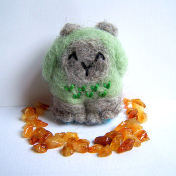 Needle Felted Forest Yeti Cute Amigurumi Monster by Knittynudo
