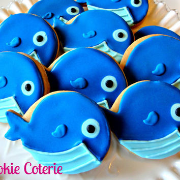 Blue Whale Decorated Cookies Birthday Party Baby Shower Cookie Favors One Dozen