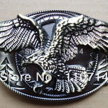 Bronze Oval flying eagle  belt buckle with pewter finish SW-B413 suitable for 4cm wideth belt