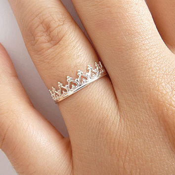 Sterling Silver Crown Ring - Princess Crown Ring - Queen Crown Ring - Sterling Silver Ring - Slim Band Stack Ring - Dainty Ring - Tiara Ring