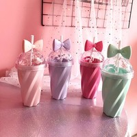 Cute cartoon bow straw plastic cup SE10303