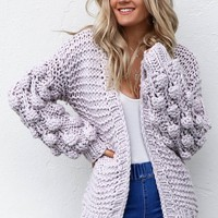 Home Again Lilac Pom Pom Sleeve Cardigan
