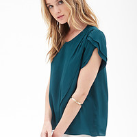 FOREVER 21 Tulip Front Top Hunter Green
