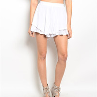White Ruffle Shorts