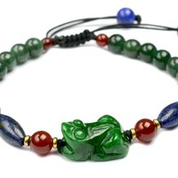 Elegant Cute Fortune Frog green jade, lappis lazuli Amulet Bracelet - Fortune Feng Shui Jade Jewelry