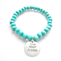 Turquoise Mens Beaded Bracelet - Live Your Dream Bracelets - Mens Wooden Beaded Jewelry - Gift For Boyfriend - Graduation Gifts