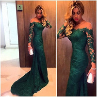 Emerald Green Lace Mermaid Off The Shoulder Prom Dress With Long Sleeve 2016 New Arrival