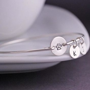 Hot Paw Print Bracelet Spring Summer Personalized Pet Memorial Jewelry Custom Letters A-Z Drop Shipping Accept YPQ0522