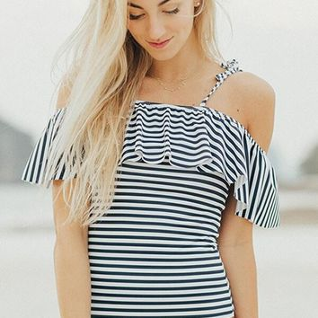 Striped Ruffle Cold Shoulder One Piece Swimsuit