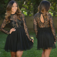Black Long Sleeve Sheer Mesh Floral Lace Spliced Skater Mini Dress
