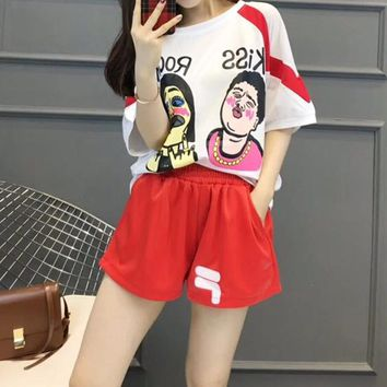 Fila  Pattern  Round Neck  Short Sleeve Edgy Fashion Two-Piece Suit Clothes