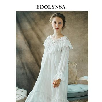 Nightgowns Sleepshirt White Lace Sleepwear Vintage Nightdress Indoor Clothing Nightwear Solid Nightgown Female Home Dress #H364