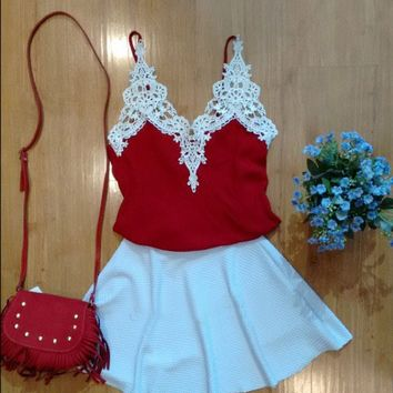 Strap Red Top White Shirt Two Set Dress