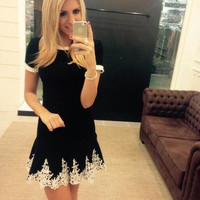 Black Lace Irregular Dress Gift-226