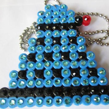 Doctor Who Sparkly Blue And Black Dalek Rhinestone Crystal  Necklace