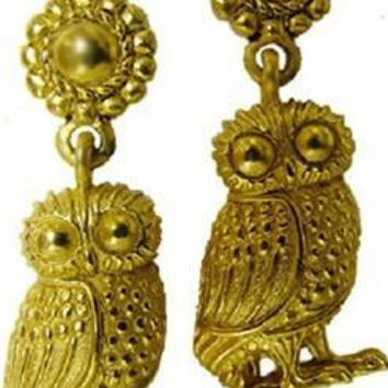 Wise Owl Athena Minerva Greek Dangling Earrings 1.5L