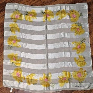 LMFMS6 GUCCI 100% Silk Scarf Floral Fashion Flowers Print Yellow Silky Large PAOLOGUCCI