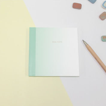 Green gradation small plain notebook