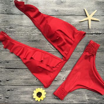 Red Ruffle Brazilian Bikini Set