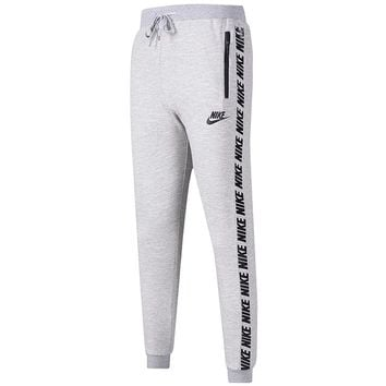NIKE trend new men's casual pants trousers logo string foot pants grey