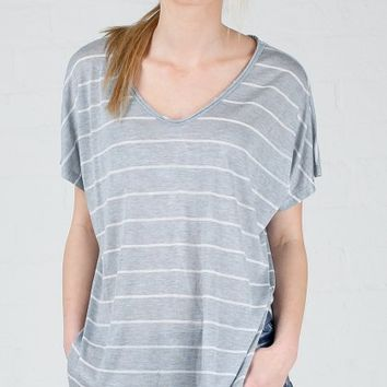 ANGL | Heather Stripe Short Sleeve Tee