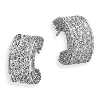 Rhodium Plated Pave CZ 3/4 Hoop Earrings
