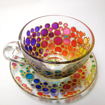 Tea Cup and Saucer, Sun catcher cup and saucer set, Hand Painted Multi Coloured Bubbles Glass Teacup Set