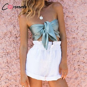 Conmoto Sexy Women Satin Lace up Tube Top Girl Summer Beach Tank & Camis Female Casual Holiday Tops Blusa Women Tops and Blouse
