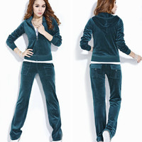 1 set women's velvet tracksuit hoodie and pants zip pockets lady sporting female large suit clothes XS-XXL