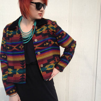 Vintage Multi Color Tribal Print Jacket 80s/90s Aztec Navajo Indian Print. Small