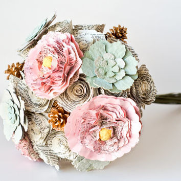 Bridesmaid or Small Bridal Bouquet with Peonies, Roses, Succulents and Pinecones - IN YOUR COLORS - Jane Austen Book Page Wedding Flowers