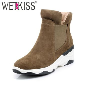 WETKISS Suede Platform Ankle Boots For Women's Shoes Winter Boots Made Of Genuine Leather Slip On High Wedges Female Shoes 2018