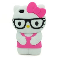 DD(TM) 3d Lovely Cute Cartoon Hotpink Hello Kitty with Black Glasses Soft Silicone Case Cover Protective Skin for Apple iPhone 5C