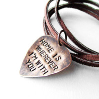 Guitar Pick Necklace with song lyrics  Edward by WyomingCreative