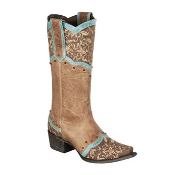 Lane Boots - Kimmie Distressed Taupe/Dark Brown/Turquoise