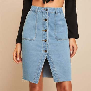 Button Front Slit Hem Pocket Patch Denim Skirt Women Casual High Waist Pencil Skirt Ladies Solid Midi Skirt